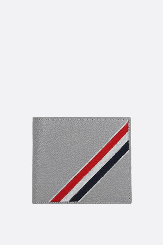 THOM BROWNE: tricolour-detailed pebble grain leather wallet Color Grey_1
