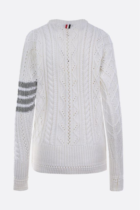 THOM BROWNE: 4-bar intarsia wool pullover Color White_2