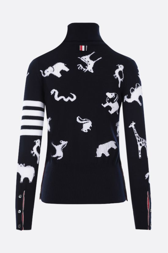 THOM BROWNE: animals intarsia wool turtleneck Color Blue_2
