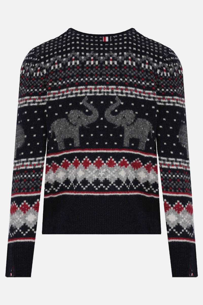 THOM BROWNE: pullover in lana e mohair a motivo Elephant Fair Isle Colore Multicolore_2