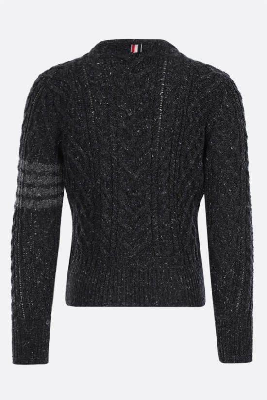 THOM BROWNE: 4-bar detailed wool mohair pullover Color Grey_2