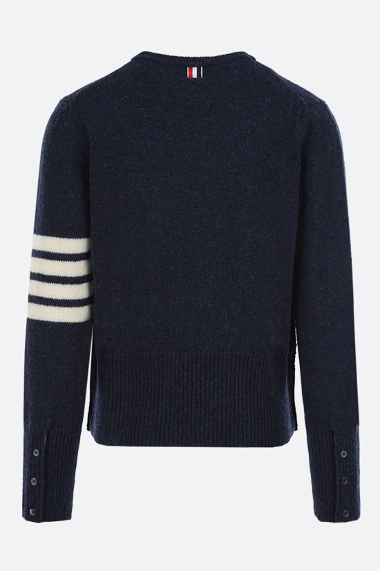 THOM BROWNE: 4-bar-detailed Shetland wool pullover Color Blue_2