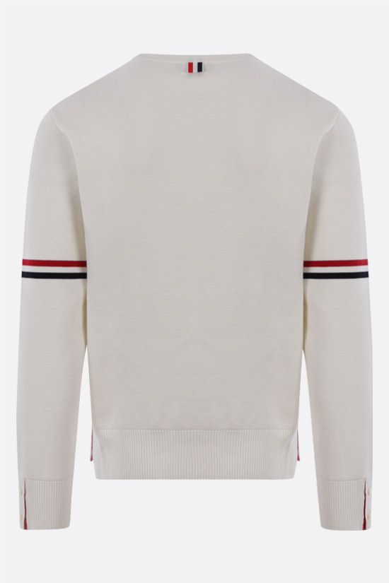 THOM BROWNE: tricolour bands-detailed cotton pullover Color White_2
