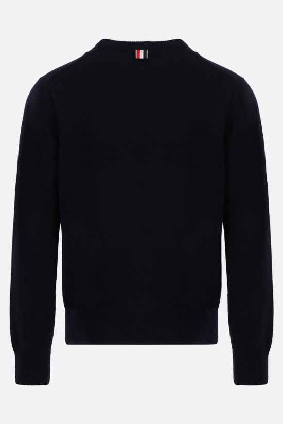 THOM BROWNE: tricolour-detailed merino wool pullover Color Blue_2