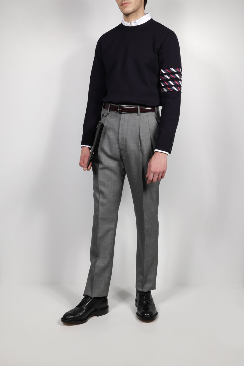 THOM BROWNE: 4-bar detailed cotton pullover Color Blue_2