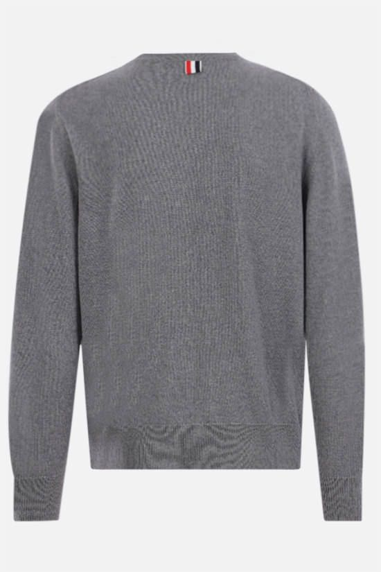 THOM BROWNE: 4-bar-detailed merino wool pullover Color Grey_2