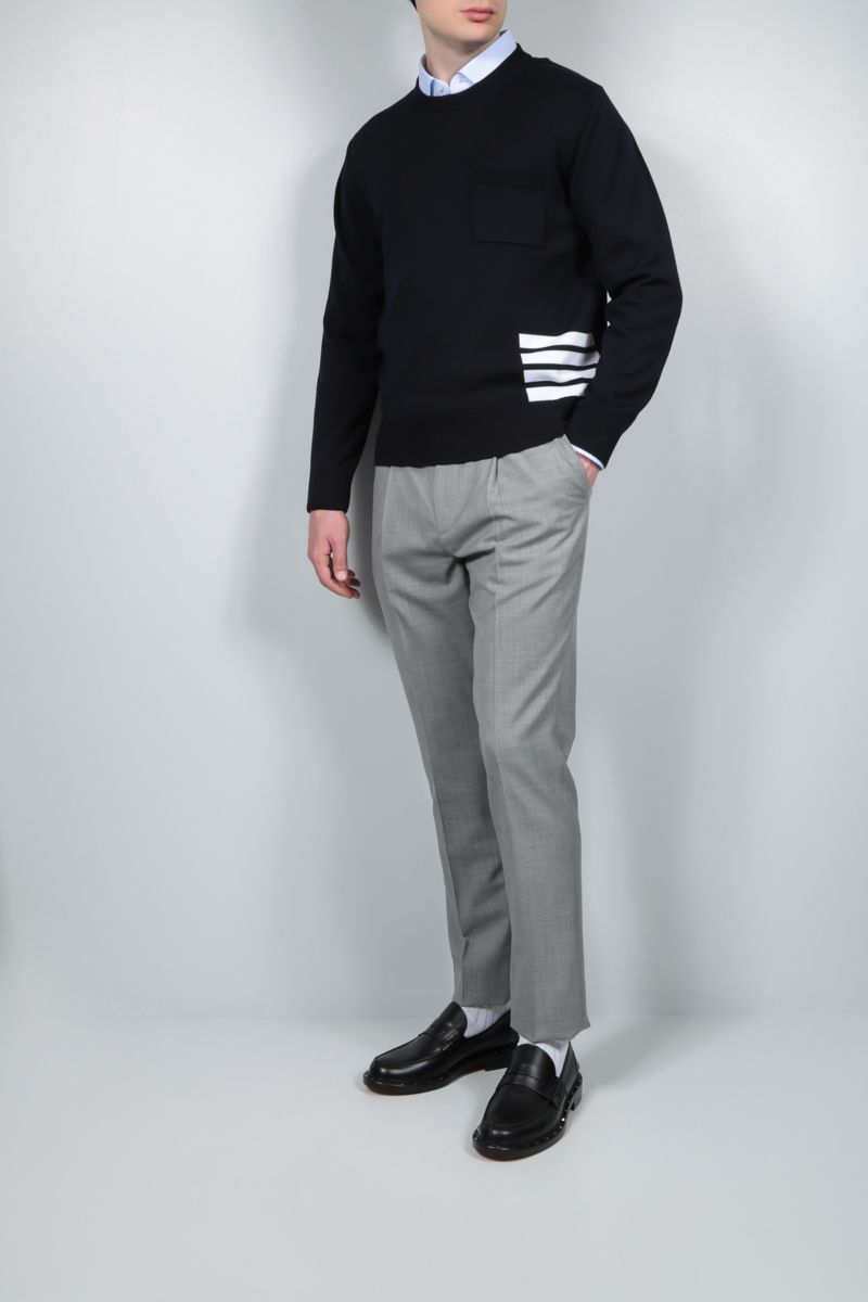 THOM BROWNE: 4-bar-detailed merino wool pullover Color Blue_2