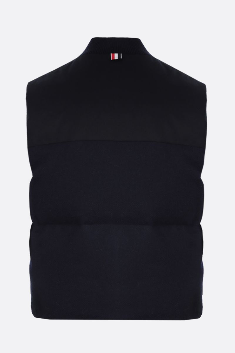 THOM BROWNE: tricolour-detailed wool sleeveless down jacket Color Blue_2