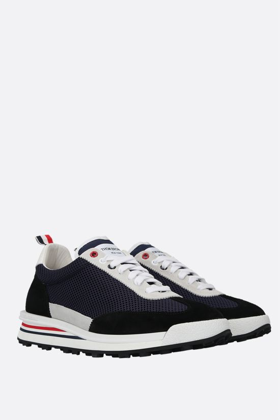 THOM BROWNE: tech knit and suede low-top sneakers Color Blue_2
