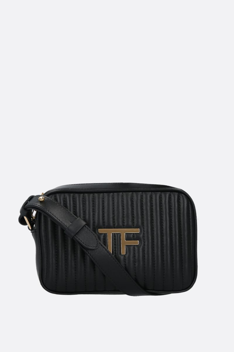 TOM FORD: borsa a tracolla TF in pelle matelassè Colore Nero_1