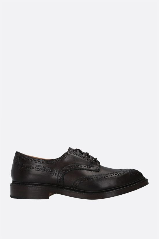 TRICKER'S: Bourton shiny leather derby shoes Color Brown_1