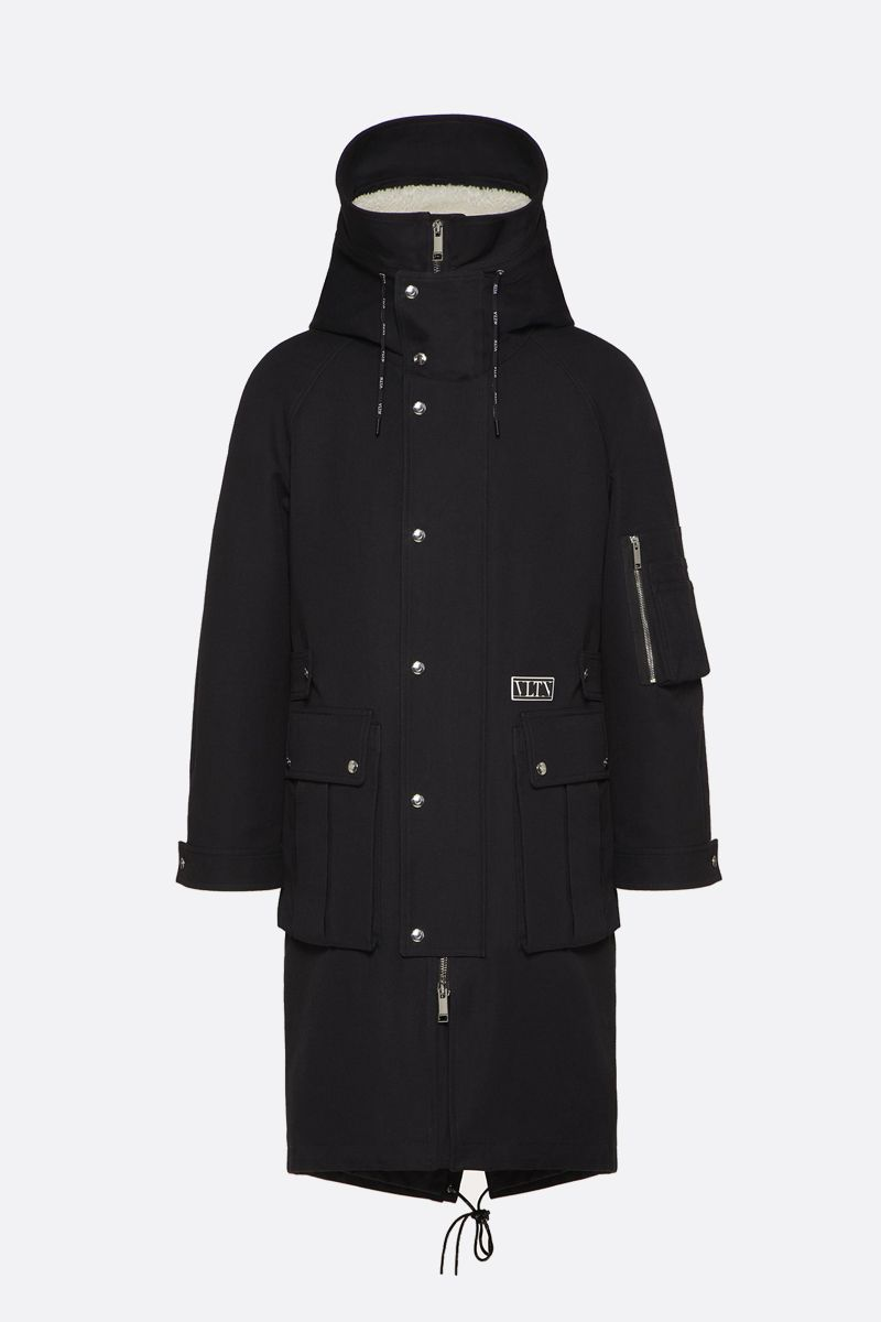 VALENTINO: VLTN TAG technical cotton parka Color Black_1