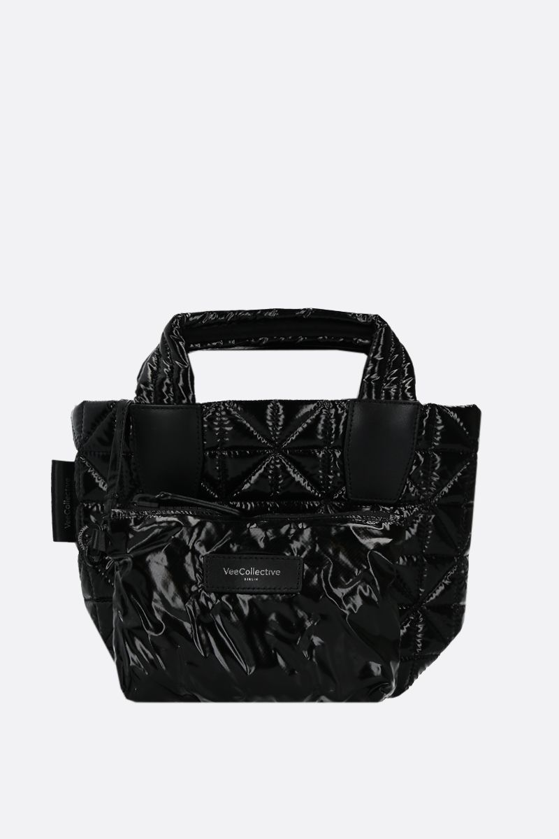 VEE COLLECTIVE: Vee mini Ripstop coated nylon tote Color Black_1