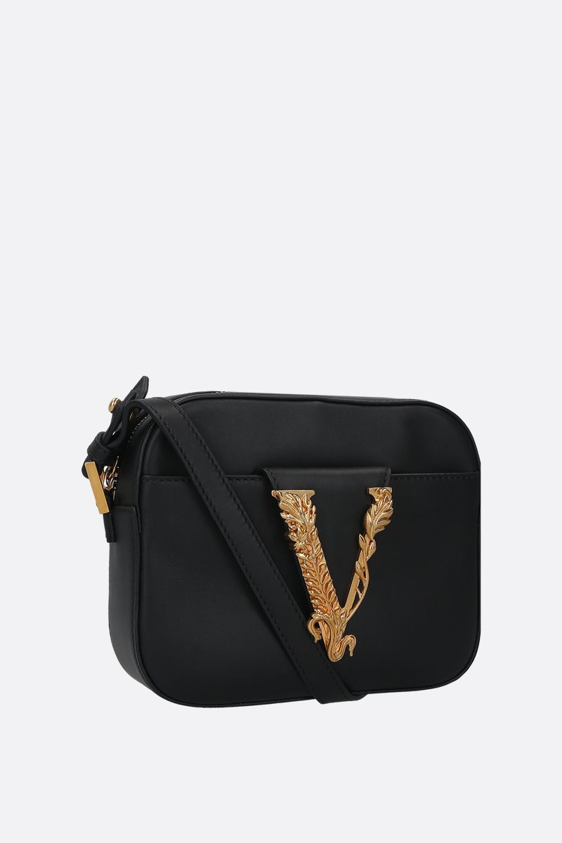 VERSACE: Virtus smooth leather camera bag Color Black_2