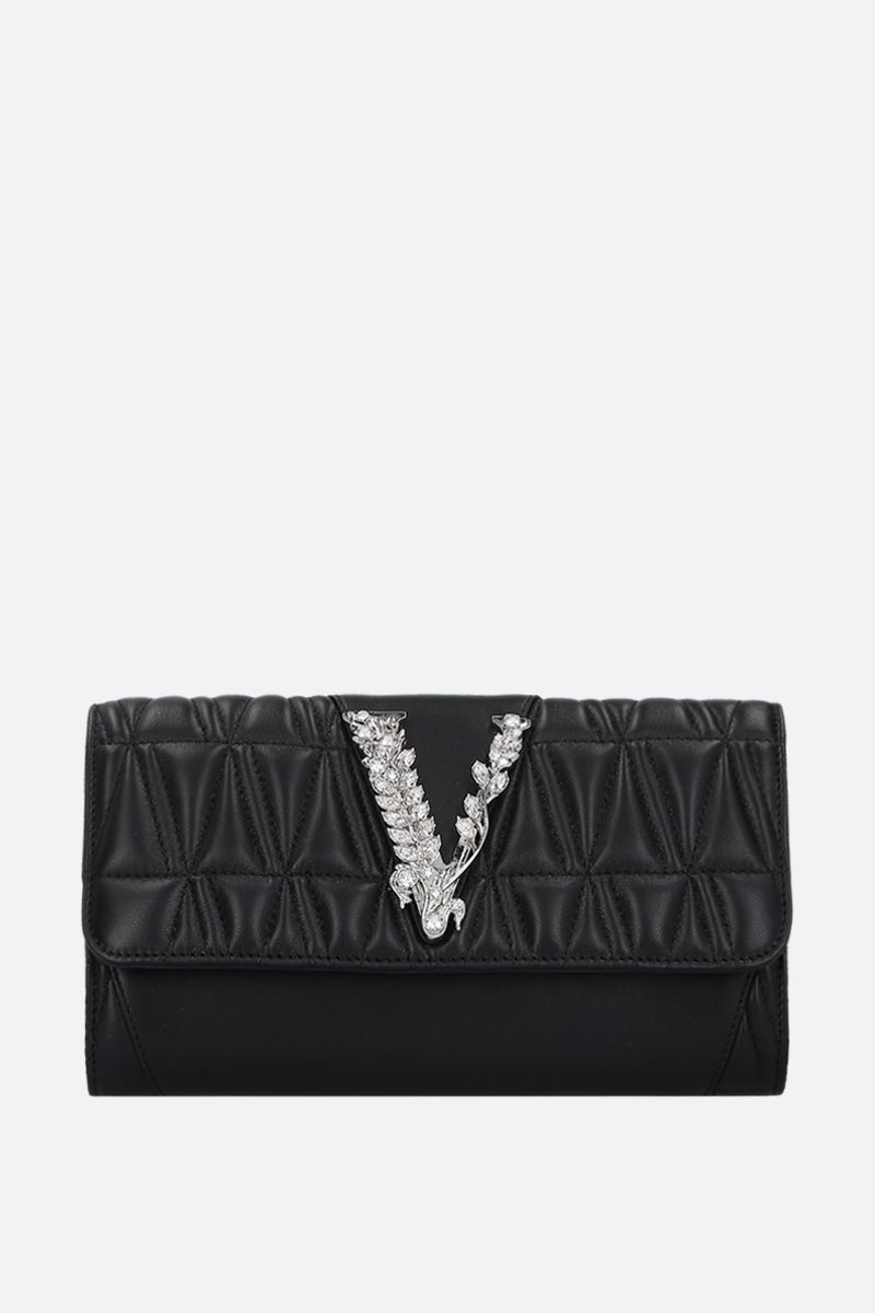 VERSACE: Virtus Crystal quilted nappa chain wallet_1