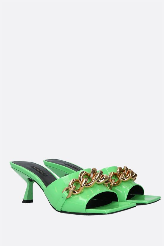 VERSACE: Medusa Chain naplack leather sandals Color Gold_2