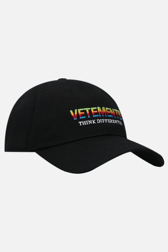 VETEMENTS: Think Differently cotton baseball cap Color Black_2