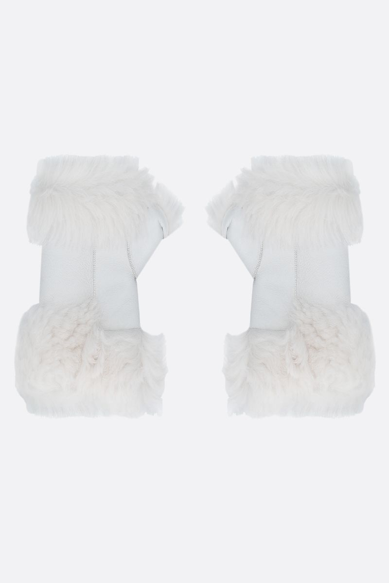 YVES SALOMON: shearling mittens Color White_1
