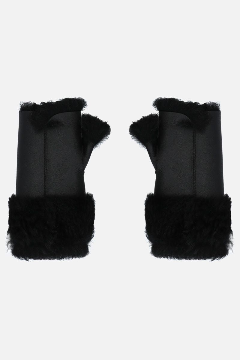 YVES SALOMON: muffole in shearling Colore Nero_1