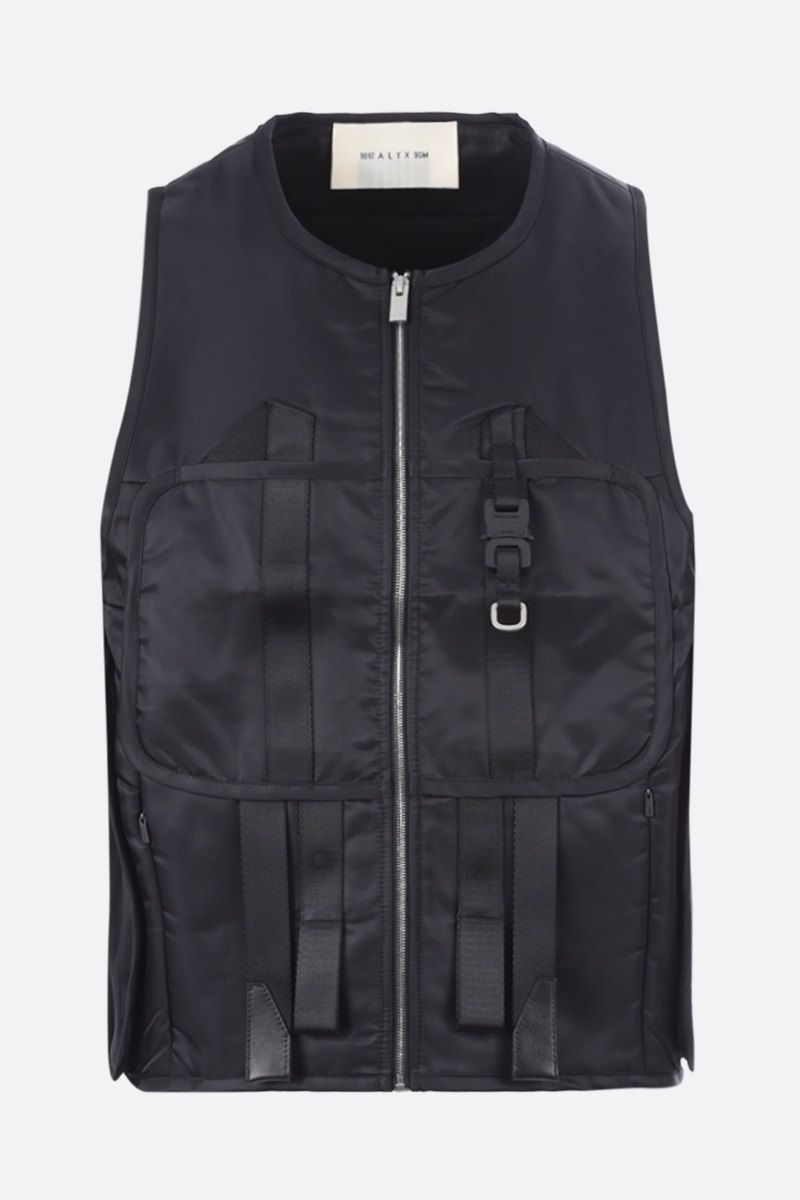 1017 ALYX 9SM: Rollercoaster buckle-detailed nylon padded vest Color Black_1