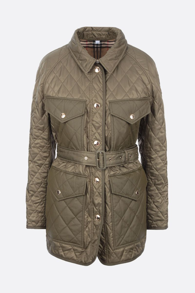 BURBERRY: Kemble quilted nylon field jacket Color Green_1
