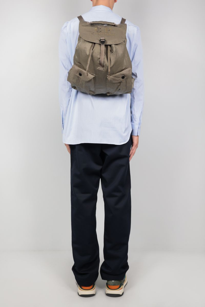 CP COMPANY: logo embroidered nylon backpack Color Grey_2
