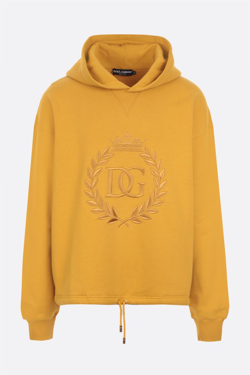 DOLCE & GABBANA: DG embroidered oversize jersey hoodie Color Neutral_1