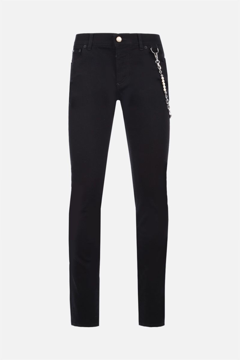 DOLCE & GABBANA: pearl chain-detailed skinny jeans Color Black_1