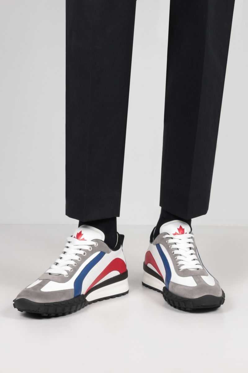 DSQUARED2: Legend smooth leather and suede sneakers Color Multicolor_2