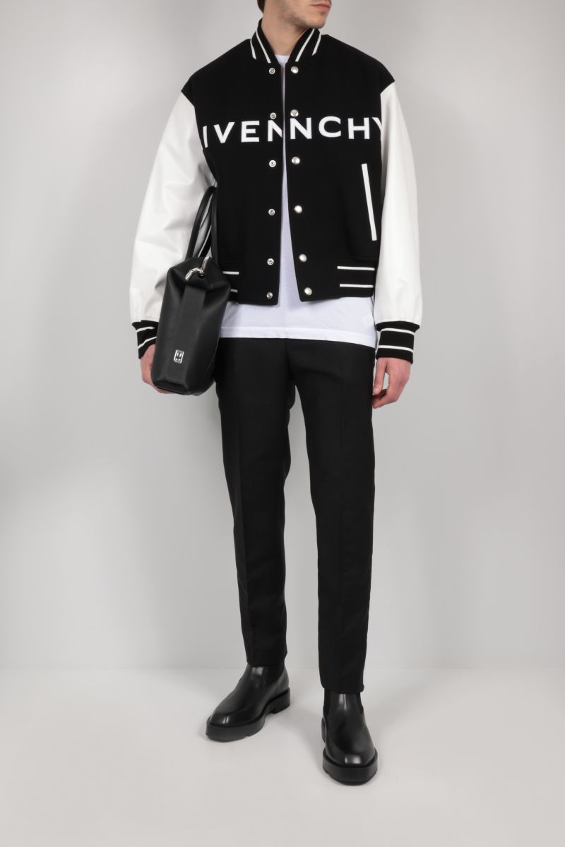 GIVENCHY: technical wool and leather bomber jacket Color Black_2