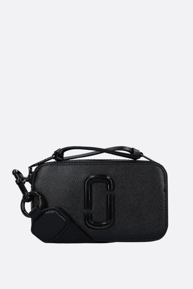 MARC JACOBS: Snapshort DTM crossbody bag in crossgrain leather Color Black_1