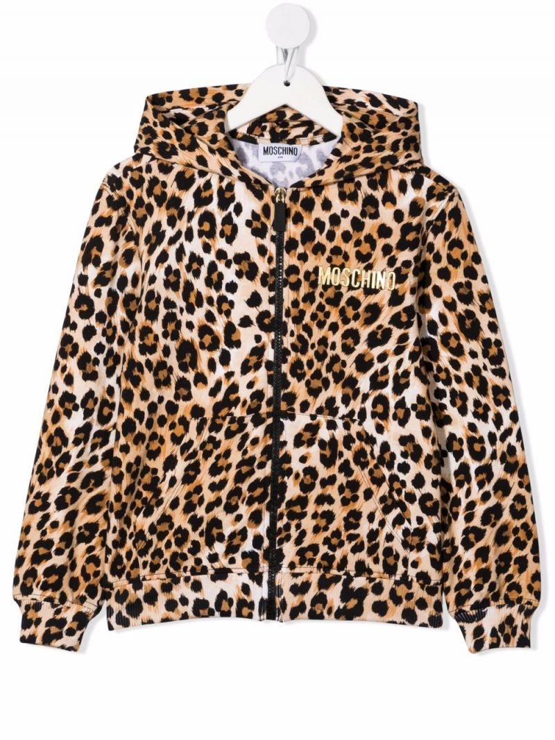 MOSCHINO KIDS: leopard print stretch cotton hoodie Color Animalier_1