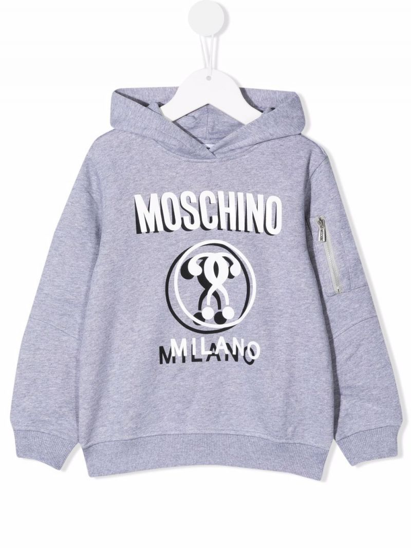MOSCHINO KIDS: Double Question Mark print cotton hoodie Color Grey_1