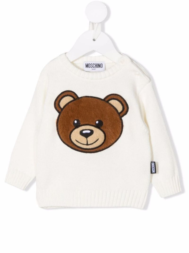 MOSCHINO KIDS: Teddy Bear wool cotton blend pullover Color White_1