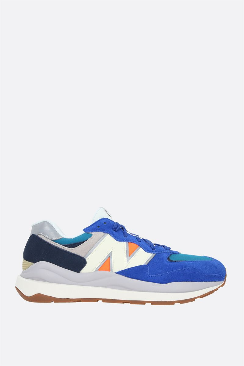 NEW BALANCE: 57/40 suede and mesh sneakers Color Blue_1