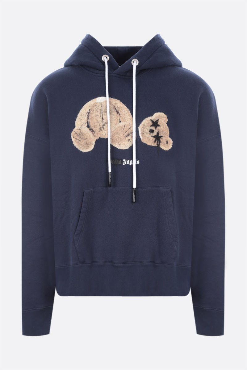 PALM ANGELS: Sprayed Palm Angels Bear cotton hoodie Color Blue_1