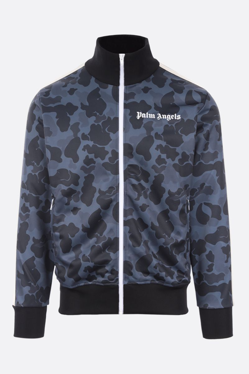 PALM ANGELS: camouflage print technical jersey track jacket Color Black_1