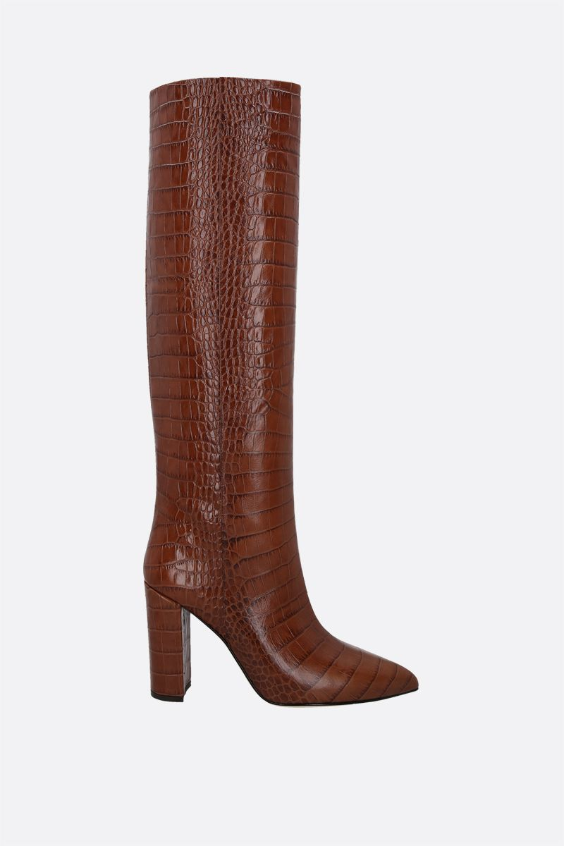 PARIS TEXAS: crocodile embossed leather boots Color Brown_1