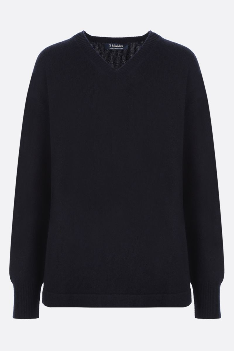 'S MAX MARA: Dritto cashmere wool blend pullover Color Blue_1