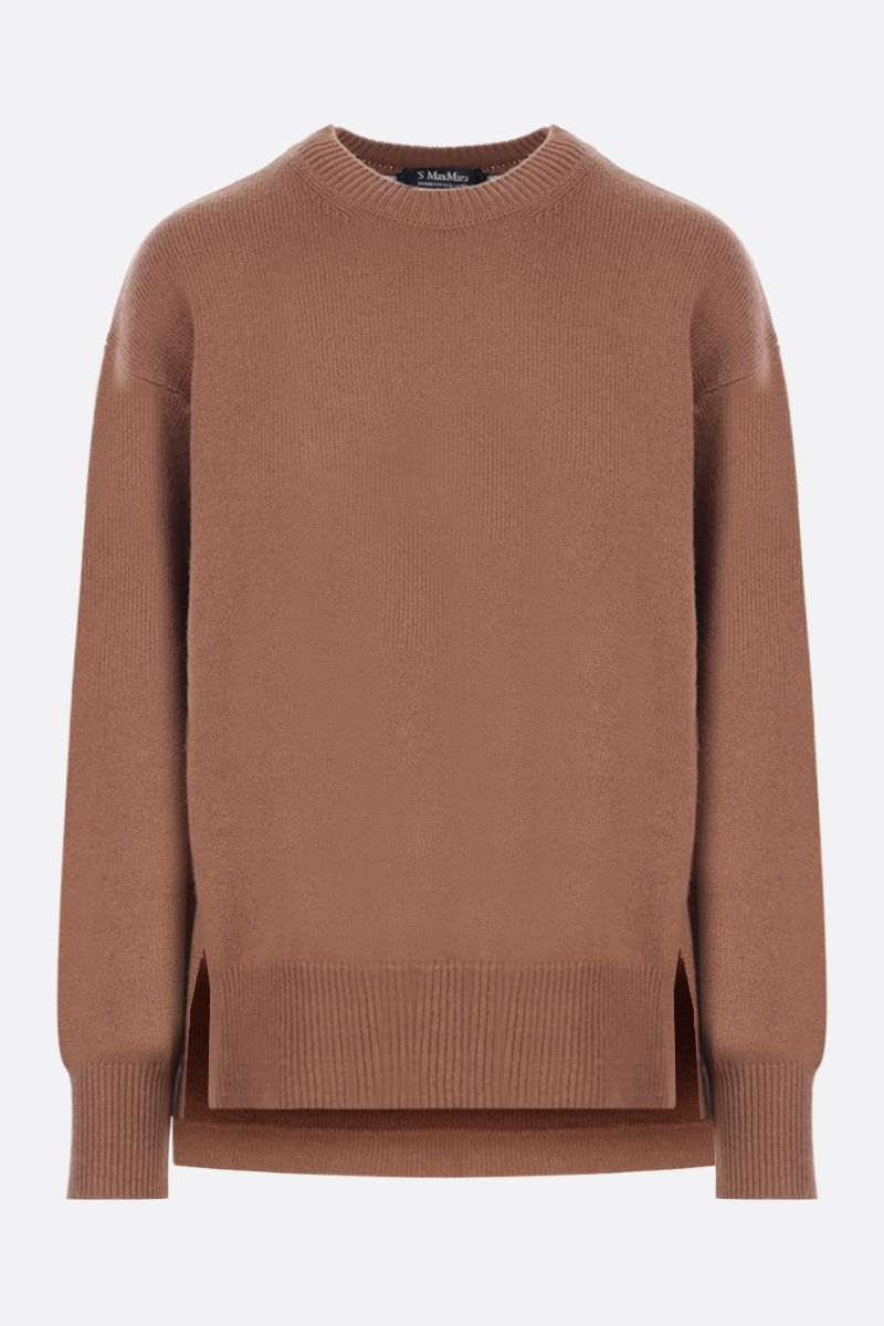 'S MAX MARA: Ovatte cashmere wool blend pullover Color Brown_1