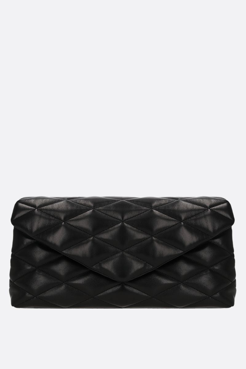 SAINT LAURENT: Sade Puffer quilted nappa clutch Color Black_1