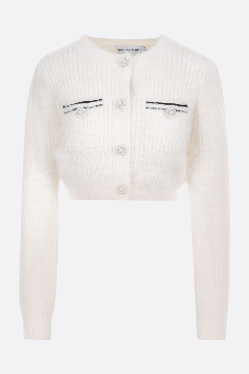 SELF PORTRAIT: cropped knit cardigan Color White_1