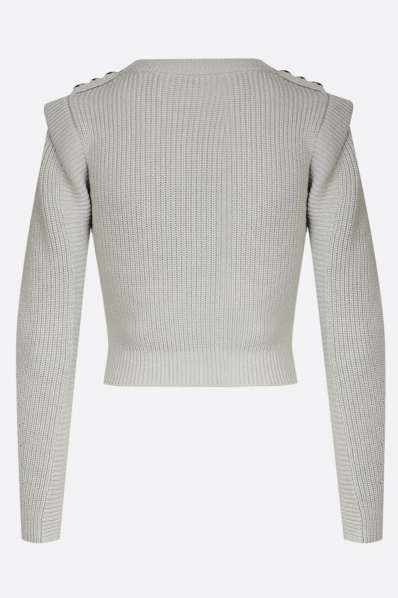SELF PORTRAIT: lace-detailed wool cotton blend cropped pullover Color Green_2
