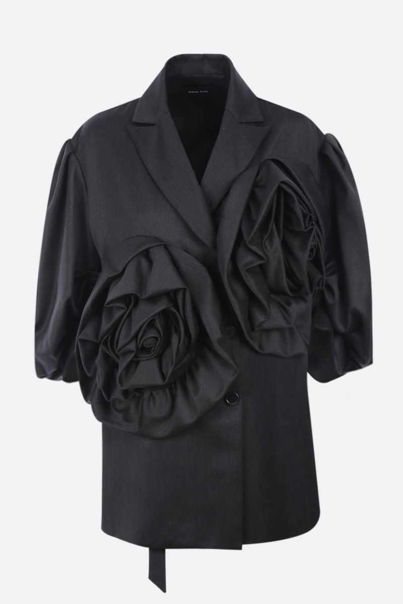 SIMONE ROCHA: Exaggerated Rose Flower double-breasted technical wool jacket Color Grey_1