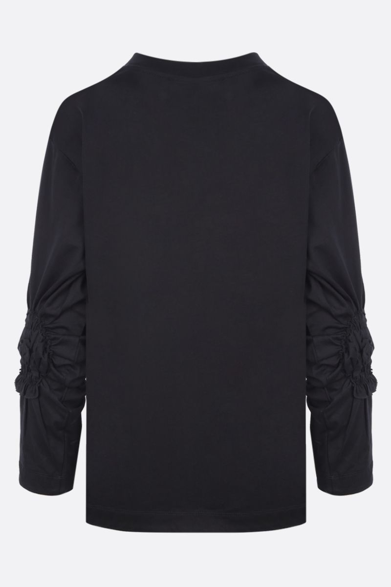 SIMONE ROCHA: t-shirt Ruched Flower in cotone Colore Black_2