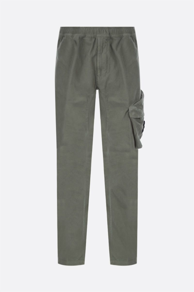 STONE ISLAND: logo badge-detailed cotton joggers Color Green_1