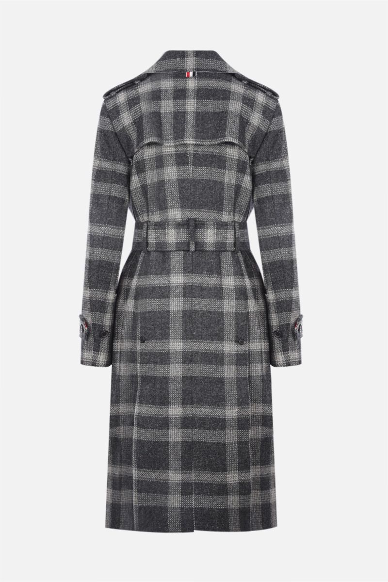 THOM BROWNE: double-breasted check wool trench coat Color Grey_2