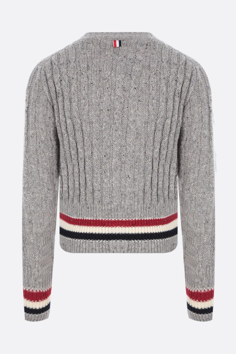 THOM BROWNE: tricolour-detailed mohair wool blend cardigan Color Grey_2