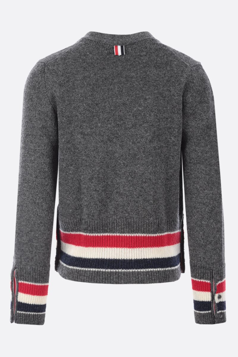 THOM BROWNE: tricolour-detailed wool cardigan Color Grey_2