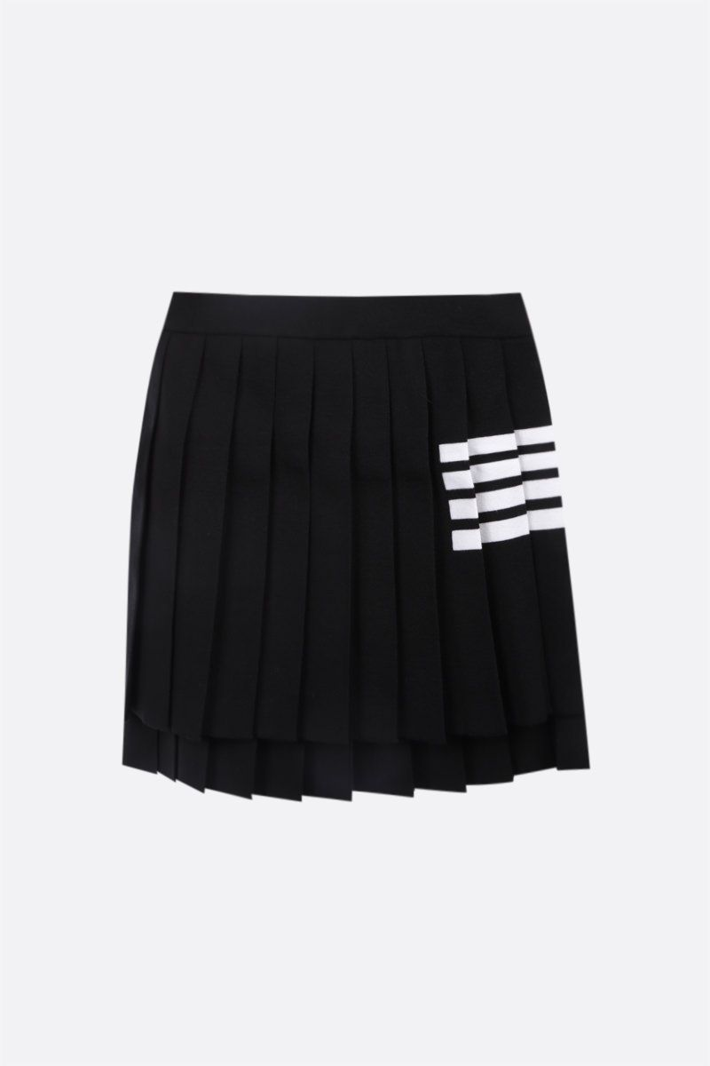 THOM BROWNE: 4-bar-detailed stretch wool pleated miniskirt Color Black_1